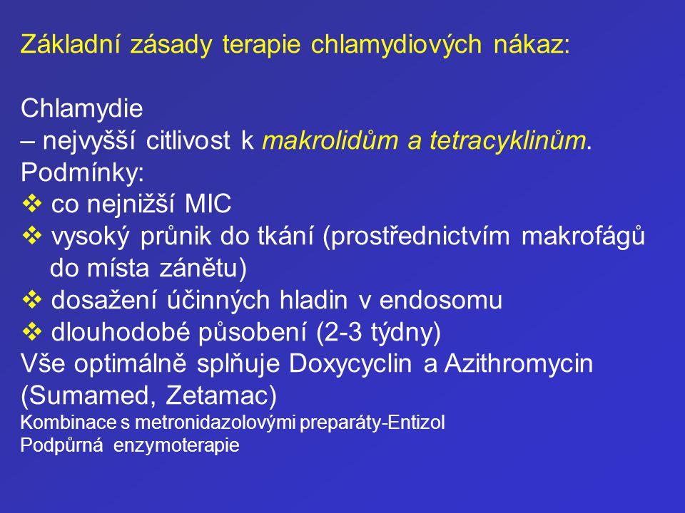 Základní zásady terapie chlamydiových nákaz: Chlamydie
