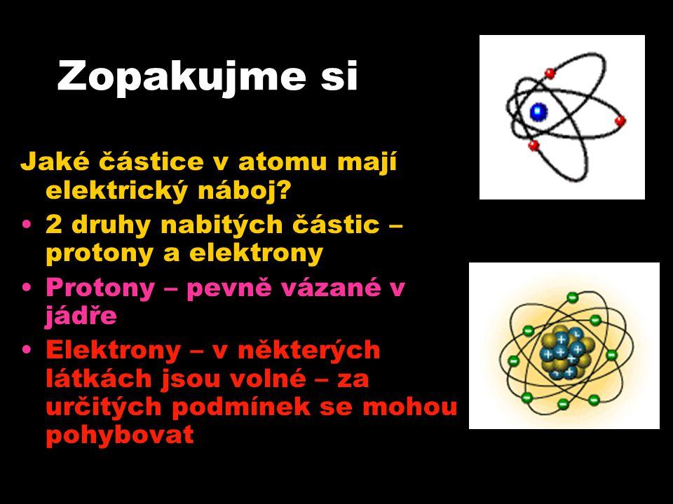 Zopakujme si Jaké částice v atomu mají elektrický náboj