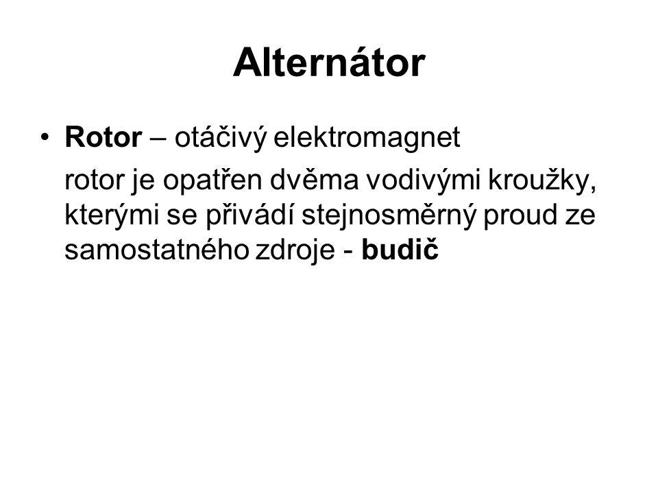 Alternátor Rotor – otáčivý elektromagnet