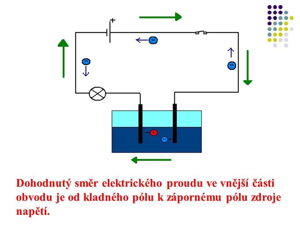 Dohodnutý směr elektrického proudu ve vnější části obvodu je od kladného pólu k zápornému pólu zdroje napětí.