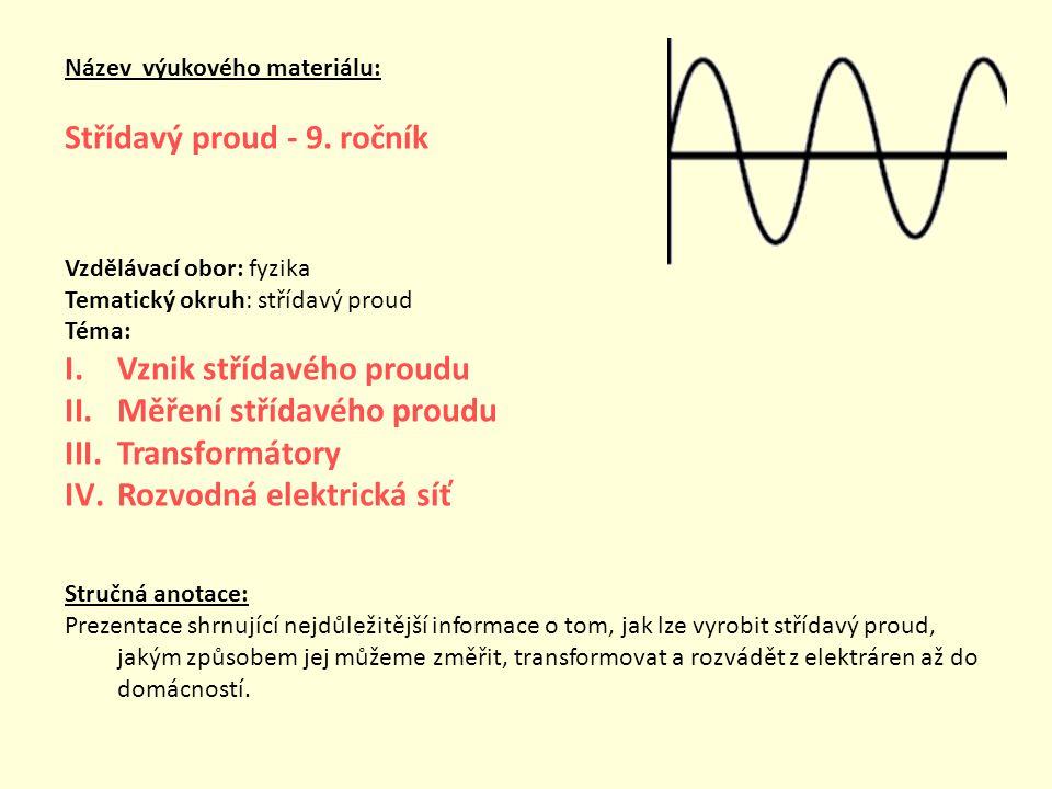 Střídavý proud - 9. ročník