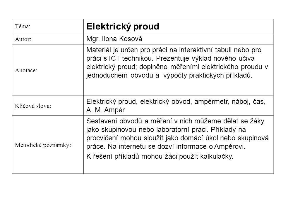 Elektrický proud Mgr. Ilona Kosová