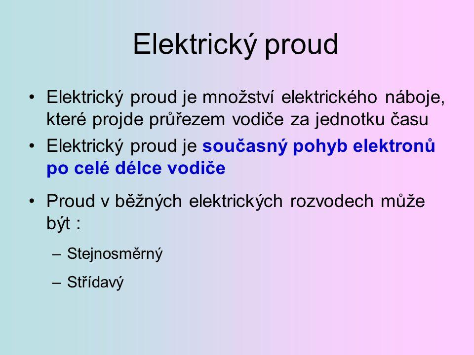 Elektrický proud Elektrický proud je množství elektrického náboje, které projde průřezem vodiče za jednotku času.