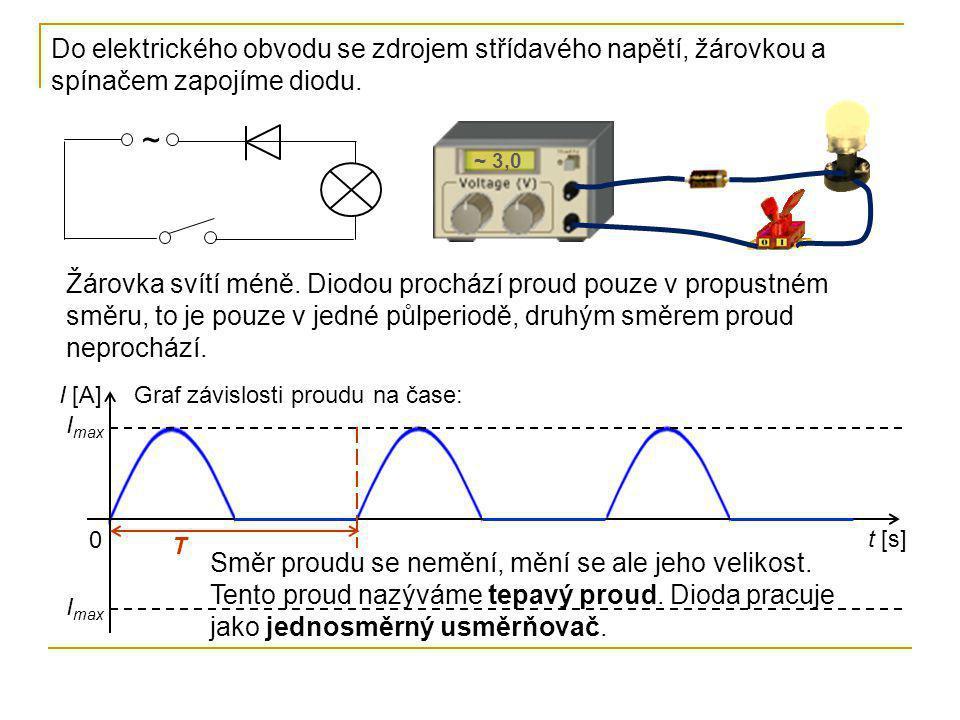 Do elektrického obvodu se zdrojem střídavého napětí, žárovkou a spínačem zapojíme diodu.