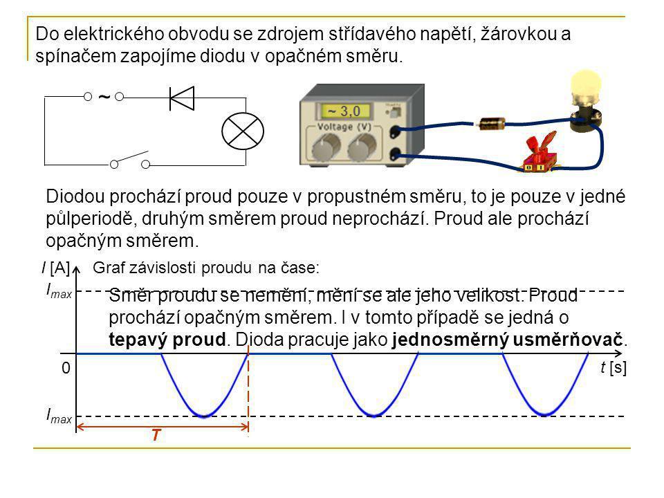 Do elektrického obvodu se zdrojem střídavého napětí, žárovkou a spínačem zapojíme diodu v opačném směru.