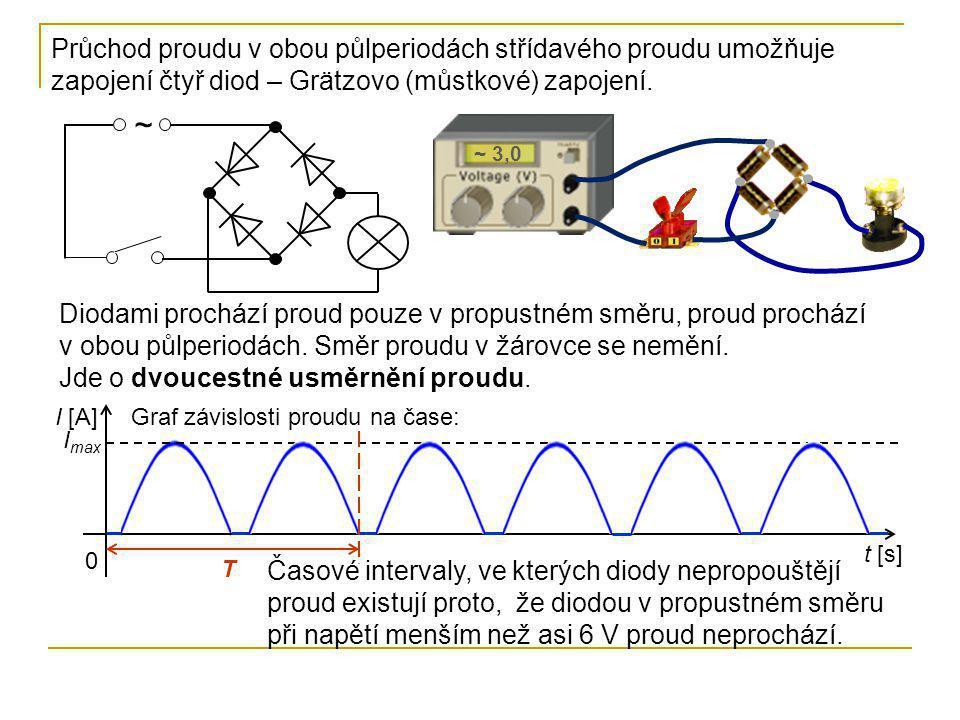 Průchod proudu v obou půlperiodách střídavého proudu umožňuje zapojení čtyř diod – Grätzovo (můstkové) zapojení.