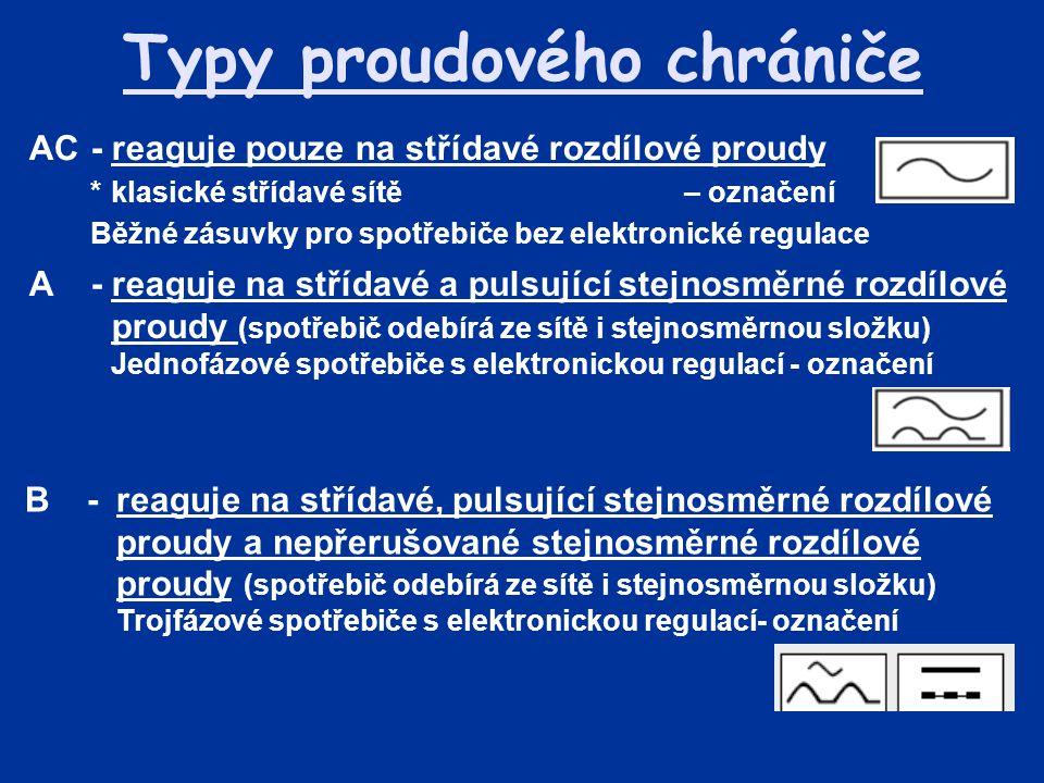 Typy proudového chrániče