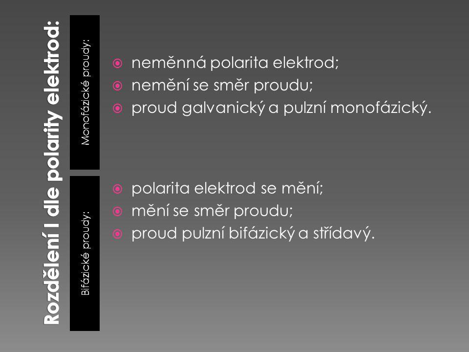 Rozdělení I dle polarity elektrod: