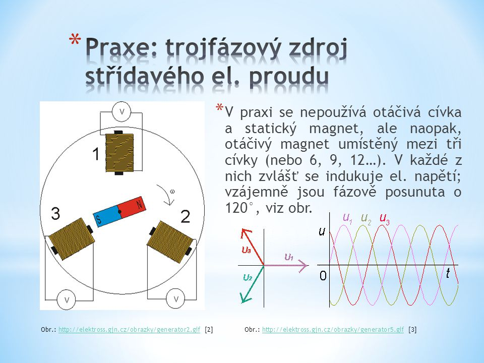 Praxe: trojfázový zdroj střídavého el. proudu