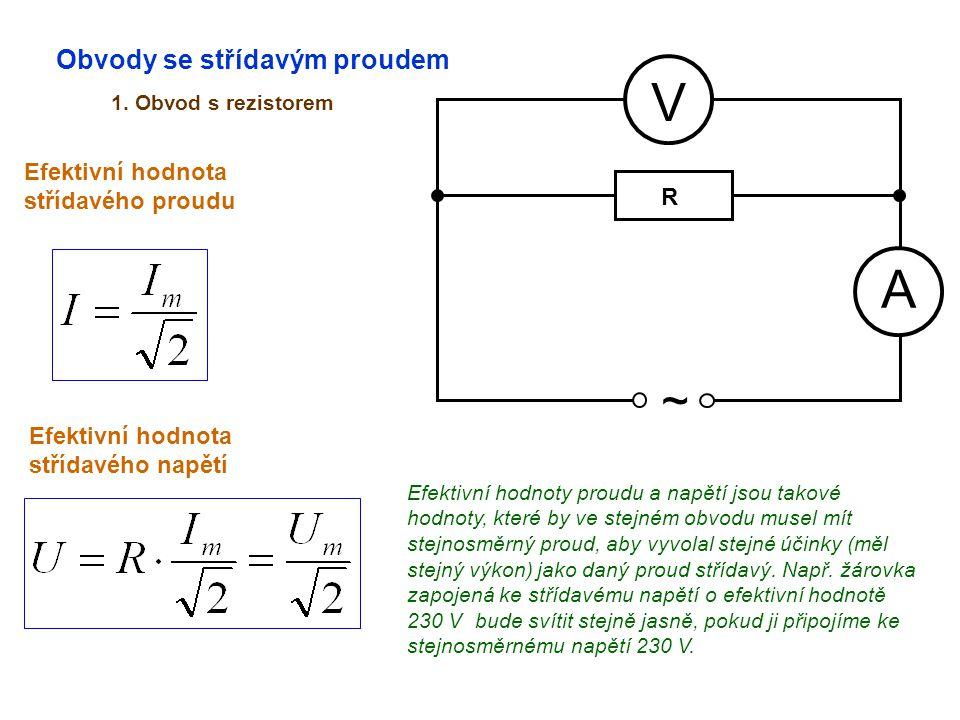 V A ~ Obvody se střídavým proudem Efektivní hodnota střídavého proudu