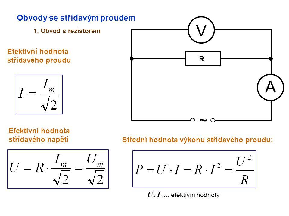 V A ~ Obvody se střídavým proudem U, I .... efektivní hodnoty