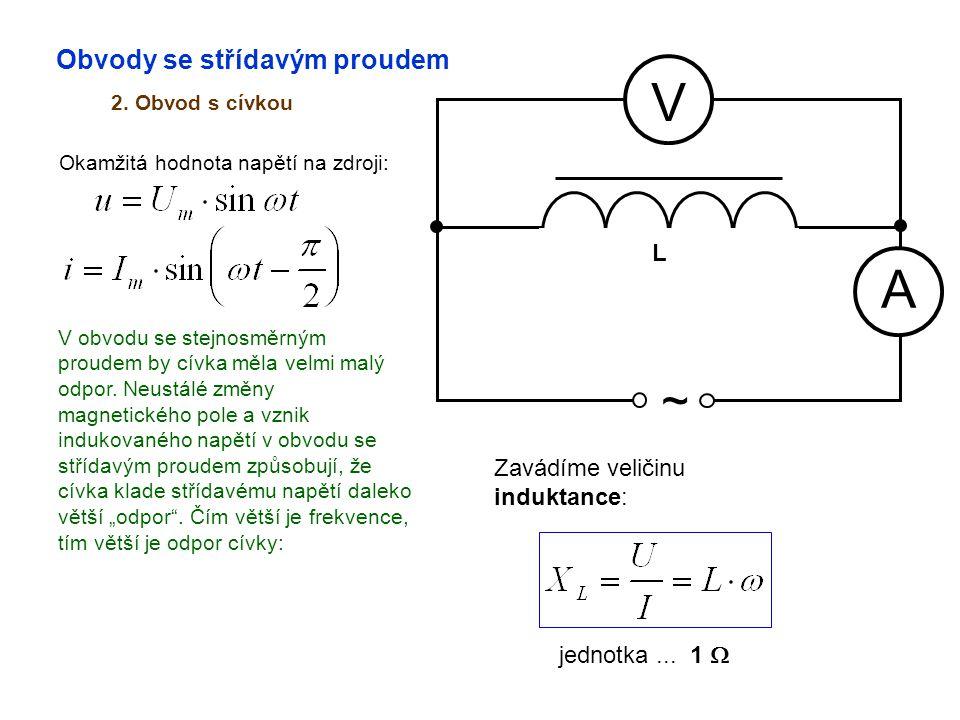 V A ~ Obvody se střídavým proudem L Zavádíme veličinu induktance: