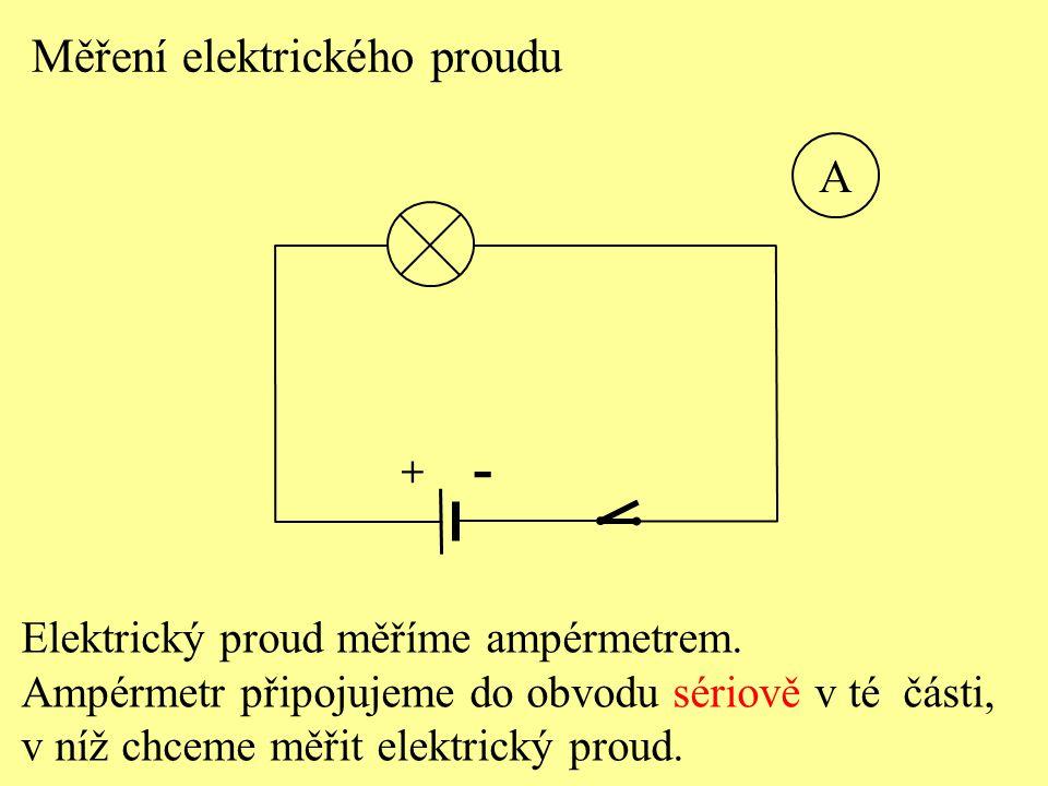 - Měření elektrického proudu A Elektrický proud měříme ampérmetrem.