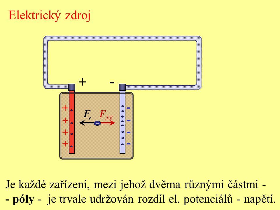 Elektrický zdroj - + - + - Je každé zařízení, mezi jehož dvěma různými částmi - - póly - je trvale udržován rozdíl el.