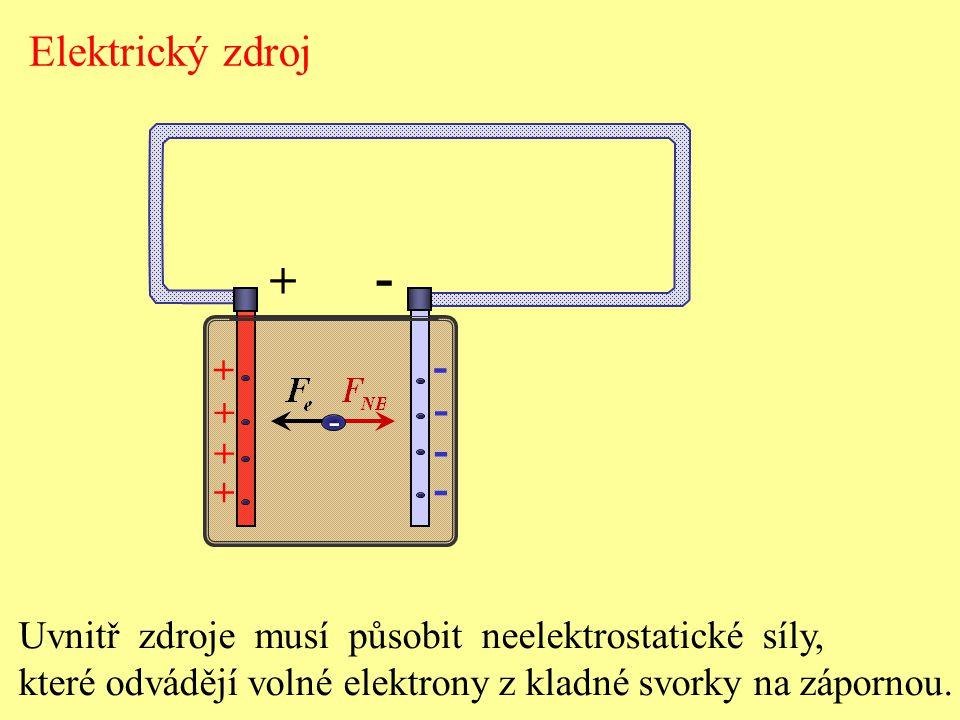 Elektrický zdroj - + - + - Uvnitř zdroje musí působit neelektrostatické síly, které odvádějí volné elektrony z kladné svorky na zápornou.