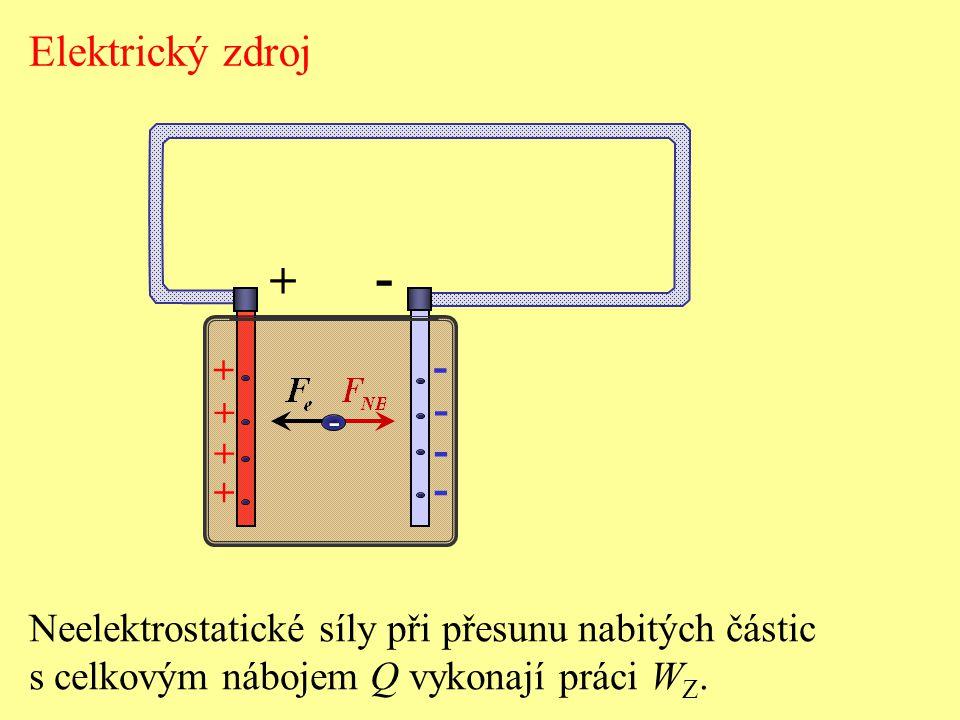 Elektrický zdroj - + - + - Neelektrostatické síly při přesunu nabitých částic.