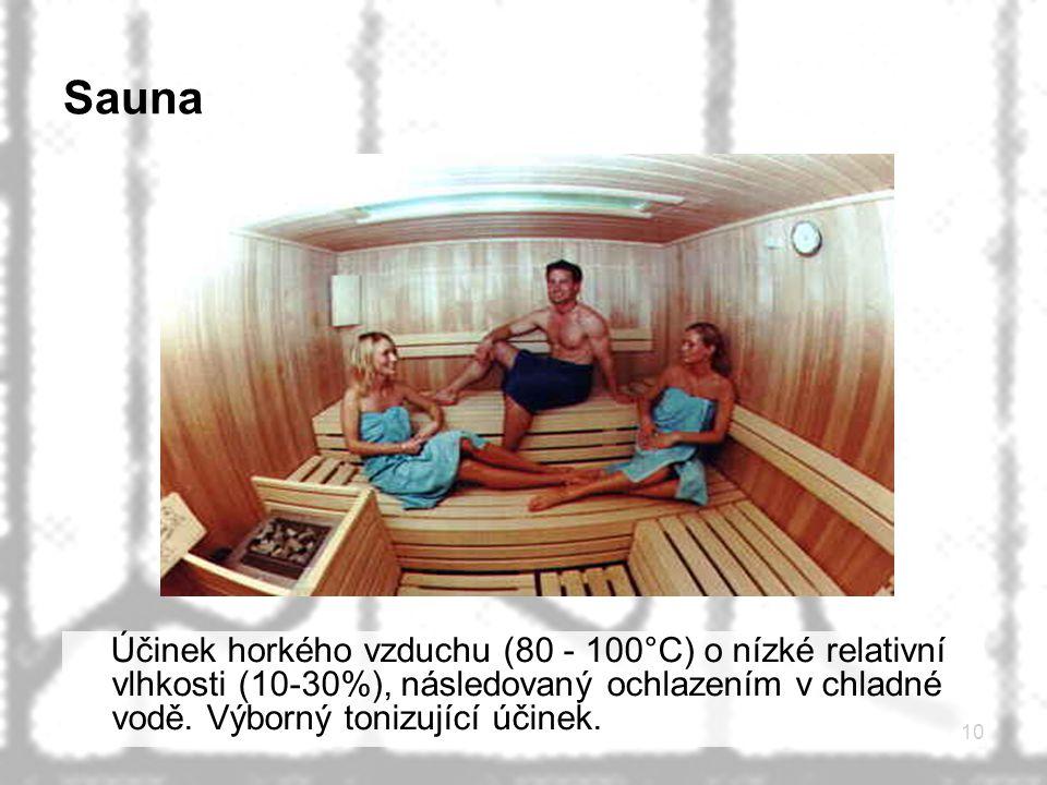 Sauna Účinek horkého vzduchu (80 - 100°C) o nízké relativní vlhkosti (10-30%), následovaný ochlazením v chladné vodě.