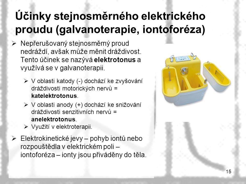 Účinky stejnosměrného elektrického proudu (galvanoterapie, iontoforéza)