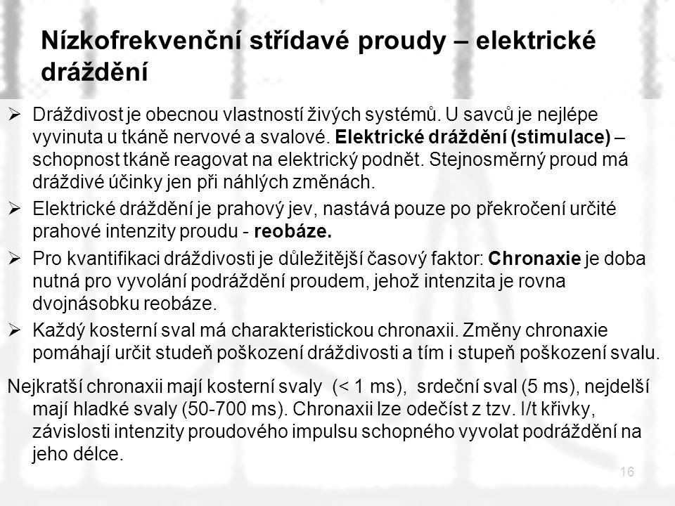 Nízkofrekvenční střídavé proudy – elektrické dráždění