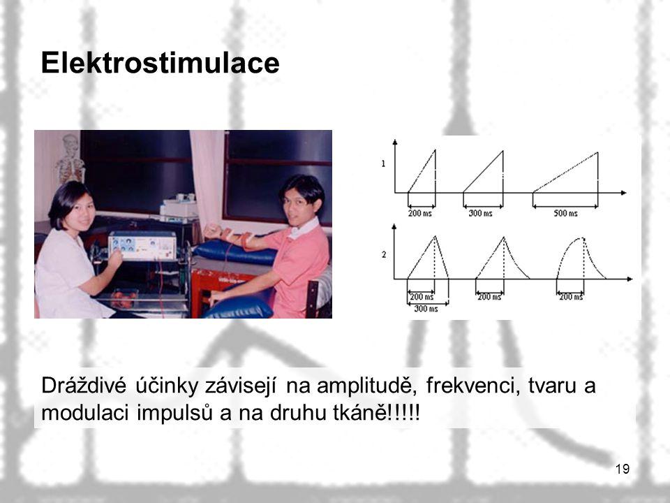 Elektrostimulace Dráždivé účinky závisejí na amplitudě, frekvenci, tvaru a modulaci impulsů a na druhu tkáně!!!!!