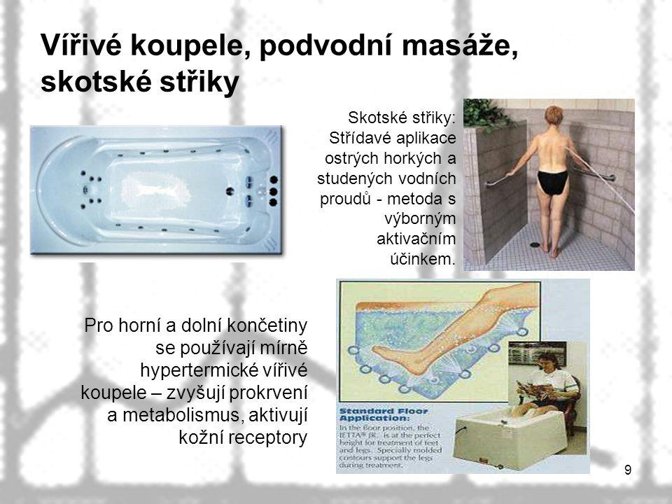 Vířivé koupele, podvodní masáže, skotské střiky