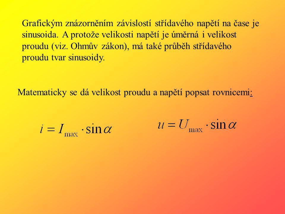 Grafickým znázorněním závislostí střídavého napětí na čase je sinusoida. A protože velikosti napětí je úměrná i velikost proudu (viz. Ohmův zákon), má také průběh střídavého proudu tvar sinusoidy.