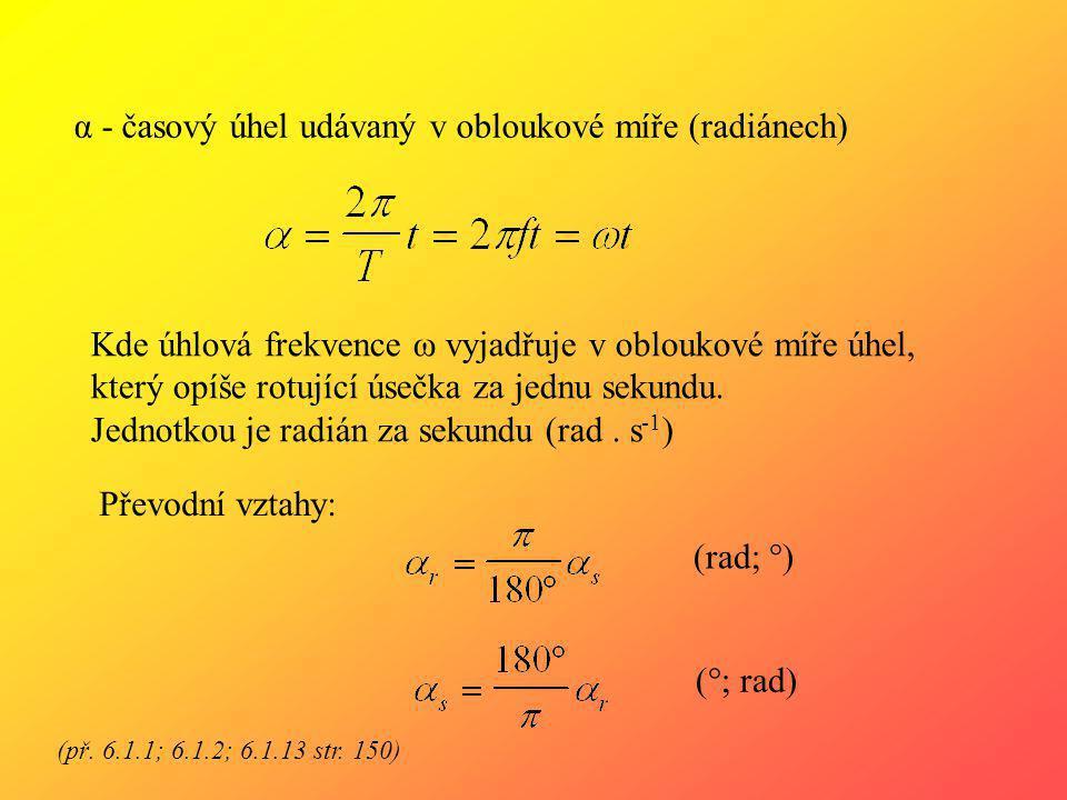 α - časový úhel udávaný v obloukové míře (radiánech)