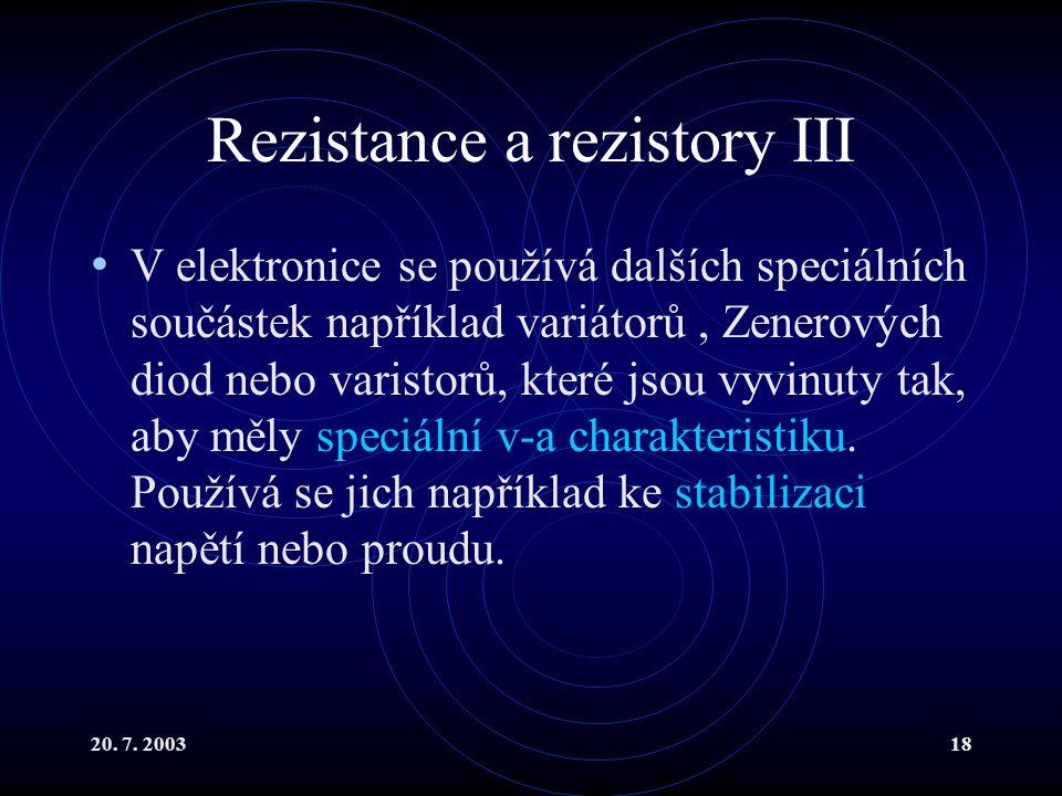 Rezistance a rezistory III