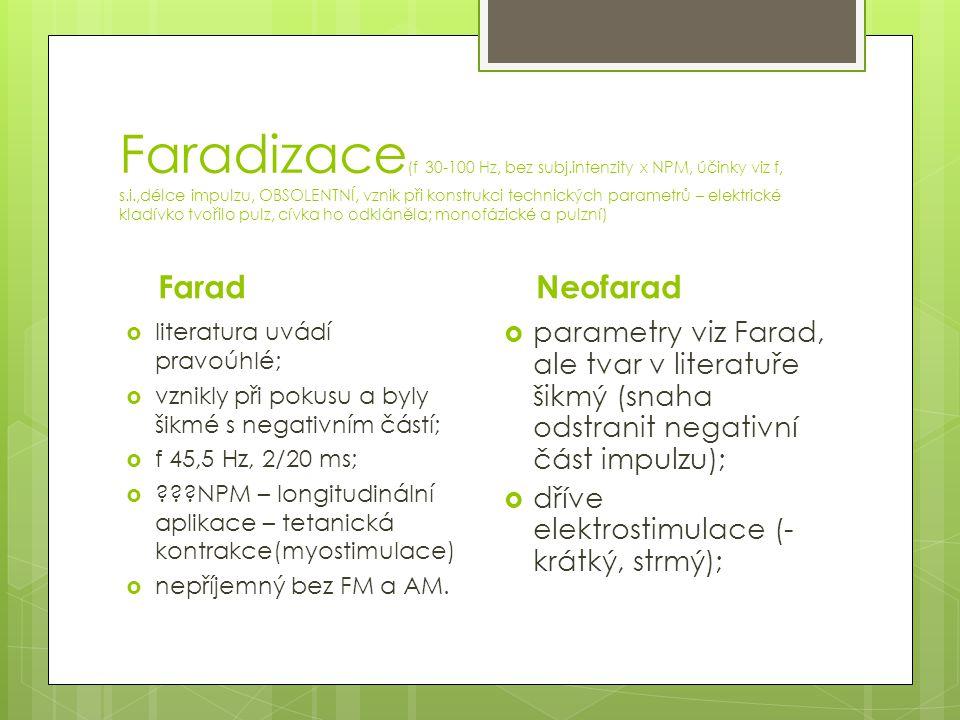 Faradizace(f 30-100 Hz, bez subj. intenzity x NPM, účinky viz f, s. i
