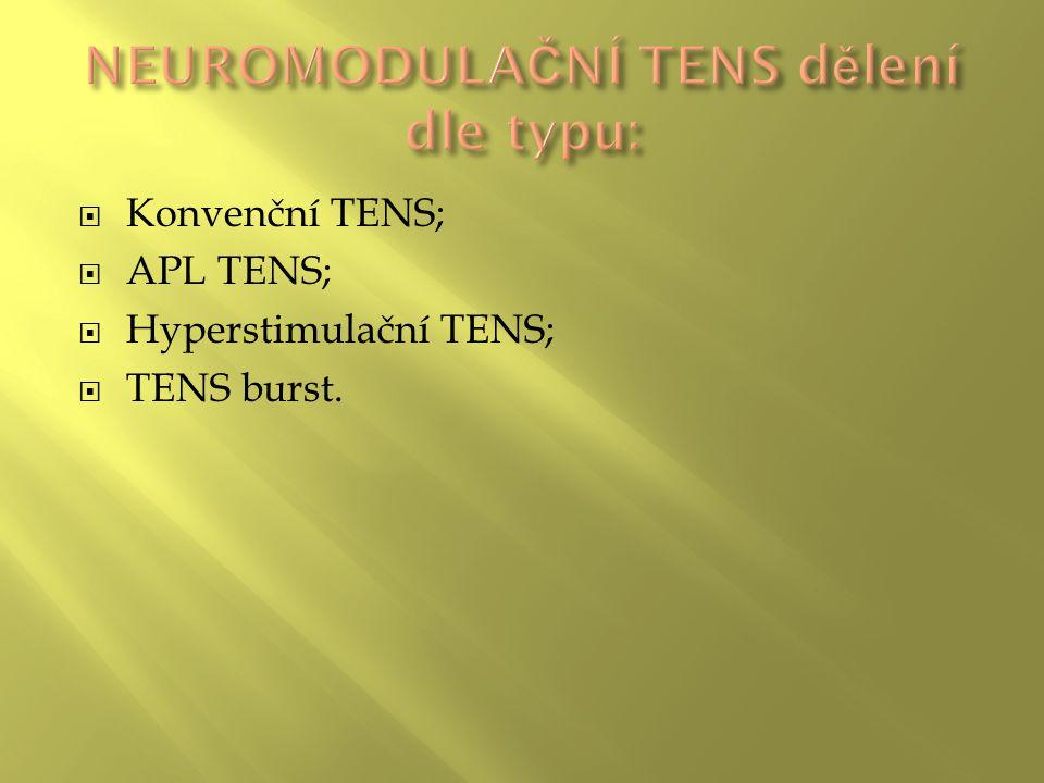 NEUROMODULAČNÍ TENS dělení dle typu: