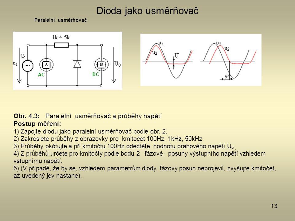 Dioda jako usměrňovač Obr. 4.3: Paralelní usměrňovač a průběhy napětí