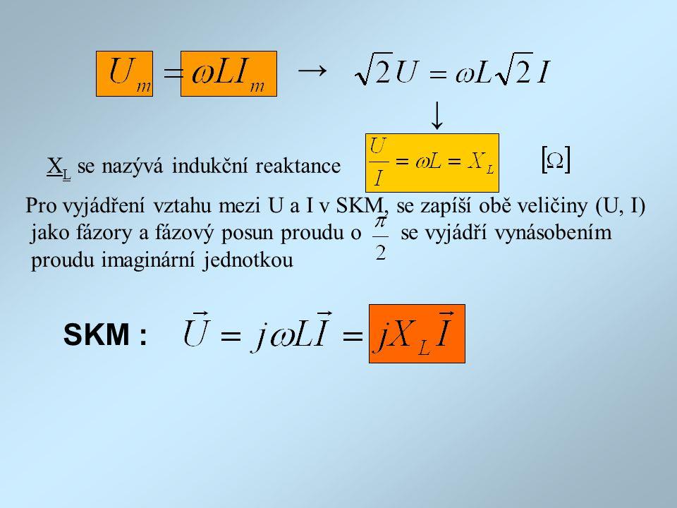 → → SKM : XL se nazývá indukční reaktance