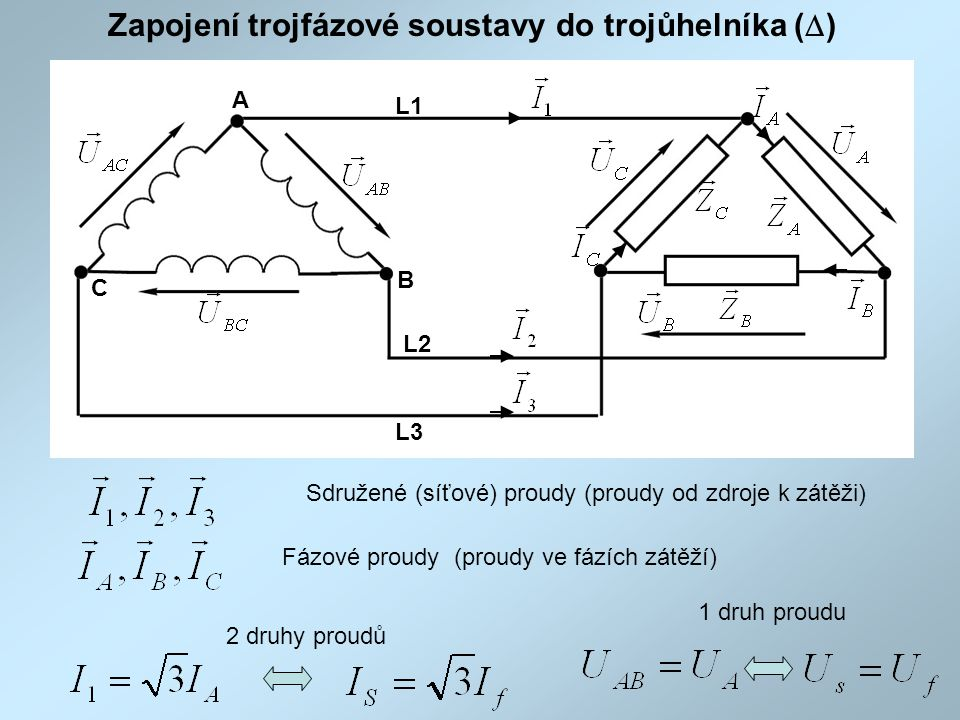 Zapojení trojfázové soustavy do trojůhelníka (D)