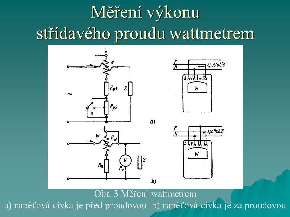 Měření výkonu střídavého proudu wattmetrem