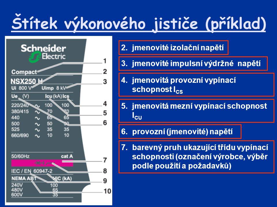 Štítek výkonového jističe (příklad)