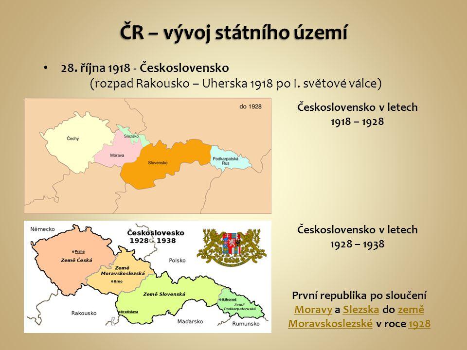 ČR – vývoj státního území