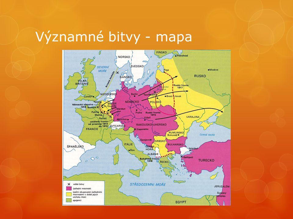 Významné bitvy - mapa