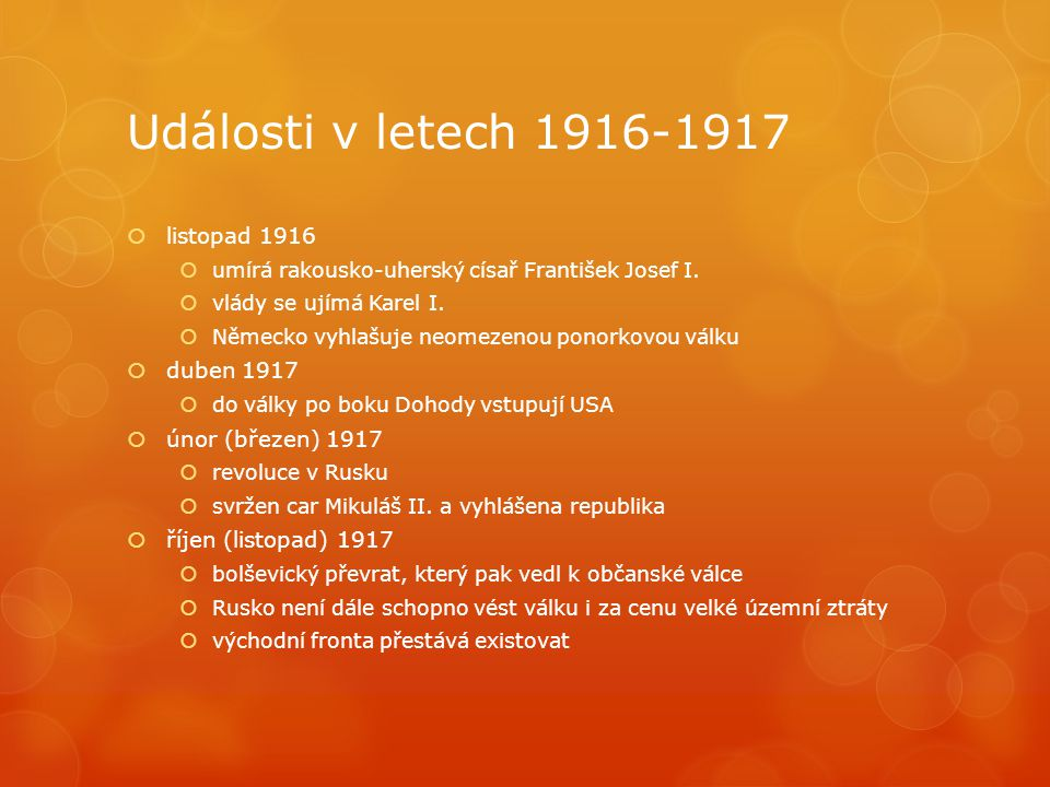 Události v letech 1916-1917 listopad 1916 duben 1917
