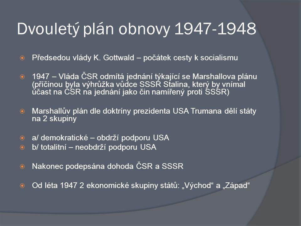 Dvouletý plán obnovy 1947-1948 Předsedou vlády K. Gottwald – počátek cesty k socialismu.