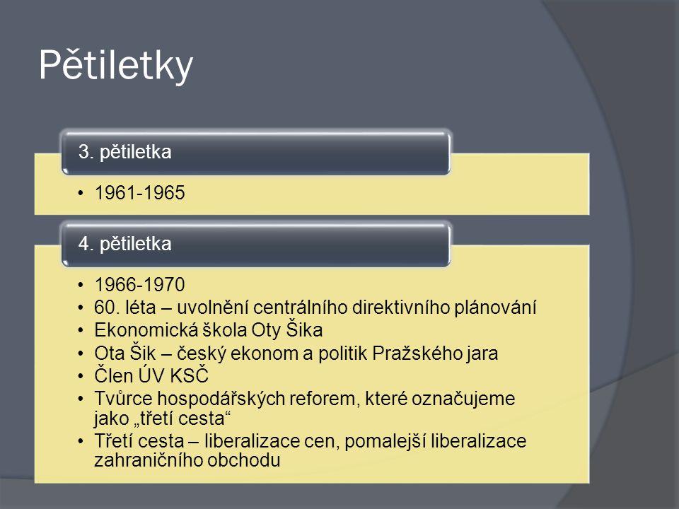 Pětiletky 3. pětiletka 1961-1965 4. pětiletka 1966-1970