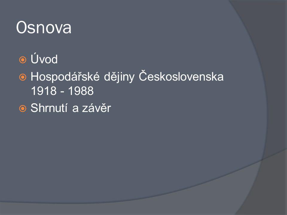 Osnova Úvod Hospodářské dějiny Československa 1918 - 1988