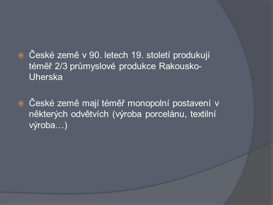 České země v 90. letech 19. století produkují téměř 2/3 průmyslové produkce Rakousko-Uherska