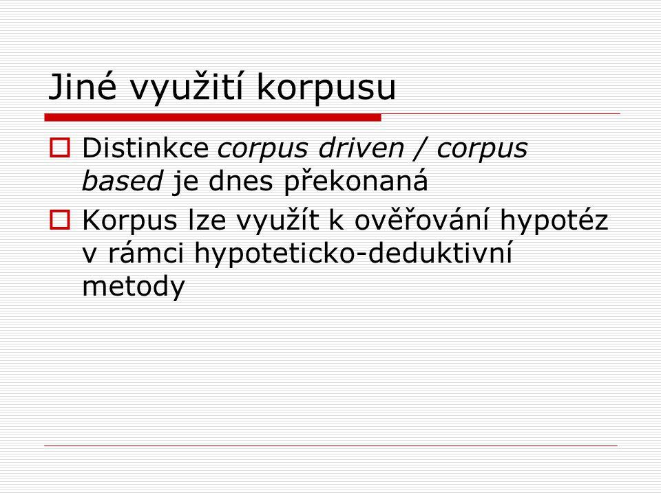 Jiné využití korpusu Distinkce corpus driven / corpus based je dnes překonaná.