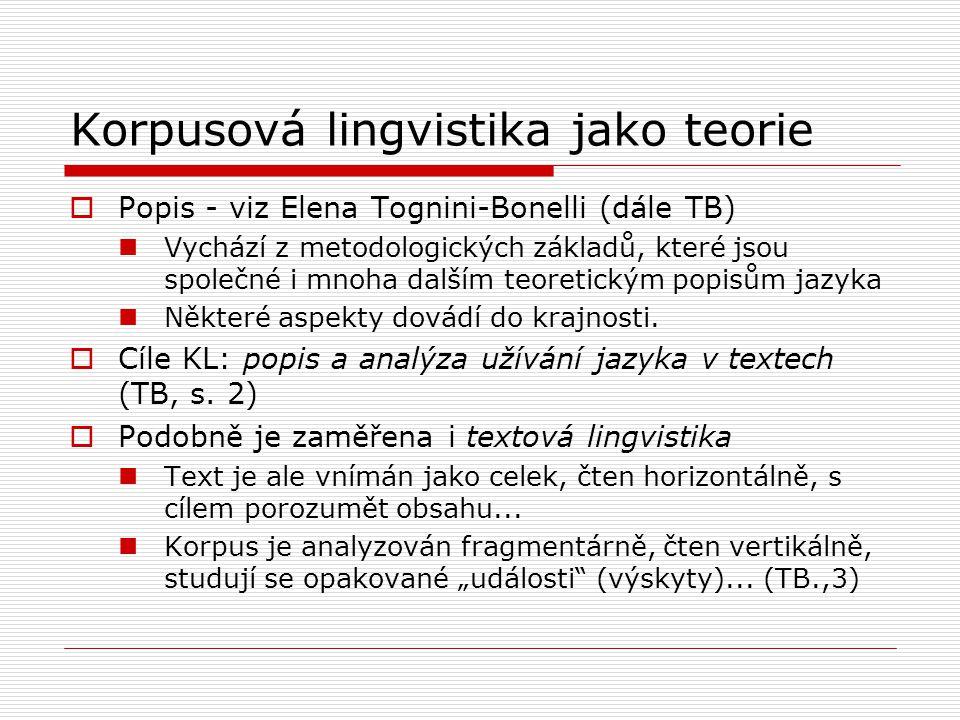 Korpusová lingvistika jako teorie