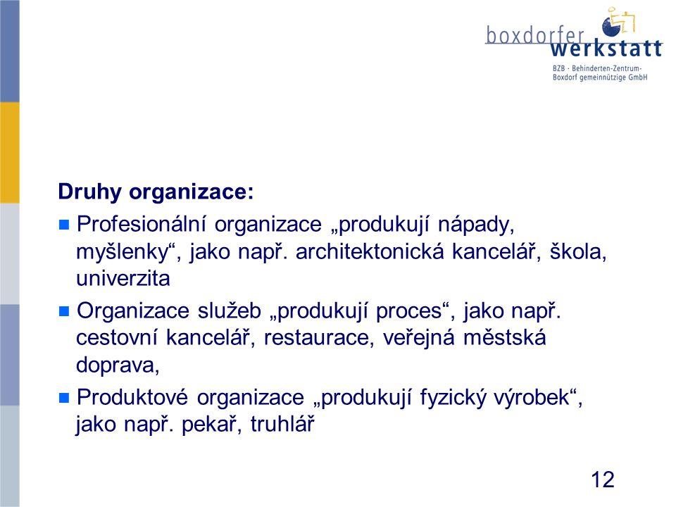 """Druhy organizace: Profesionální organizace """"produkují nápady, myšlenky , jako např. architektonická kancelář, škola, univerzita."""