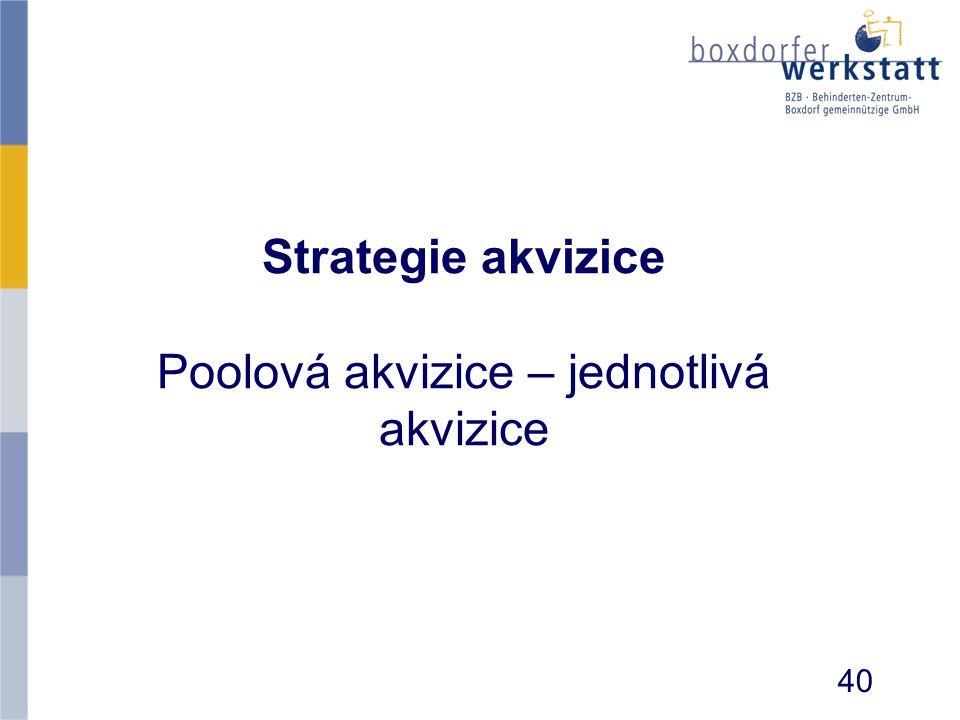 Strategie akvizice Poolová akvizice – jednotlivá akvizice