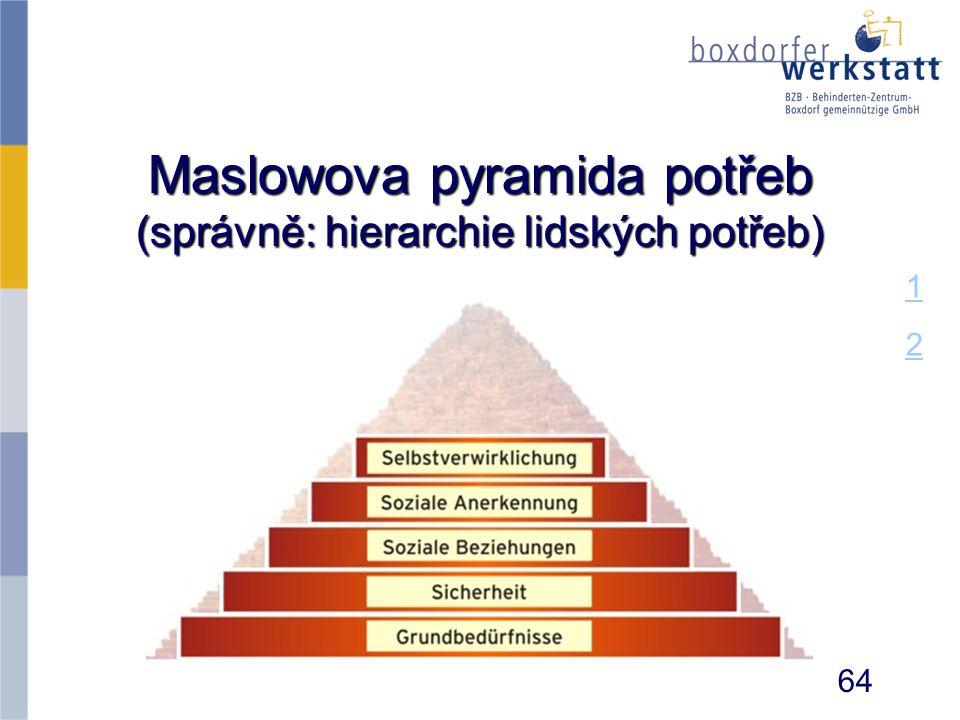 Maslowova pyramida potřeb (správně: hierarchie lidských potřeb)