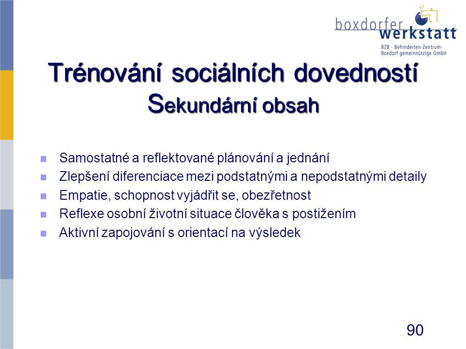 Trénování sociálních dovedností Sekundární obsah