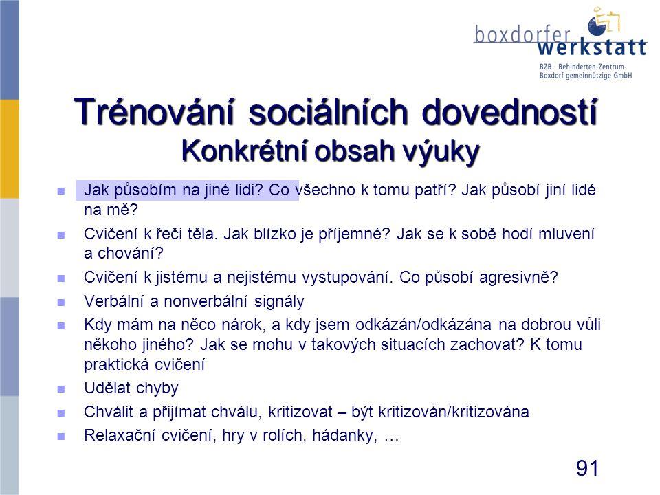 Trénování sociálních dovedností Konkrétní obsah výuky