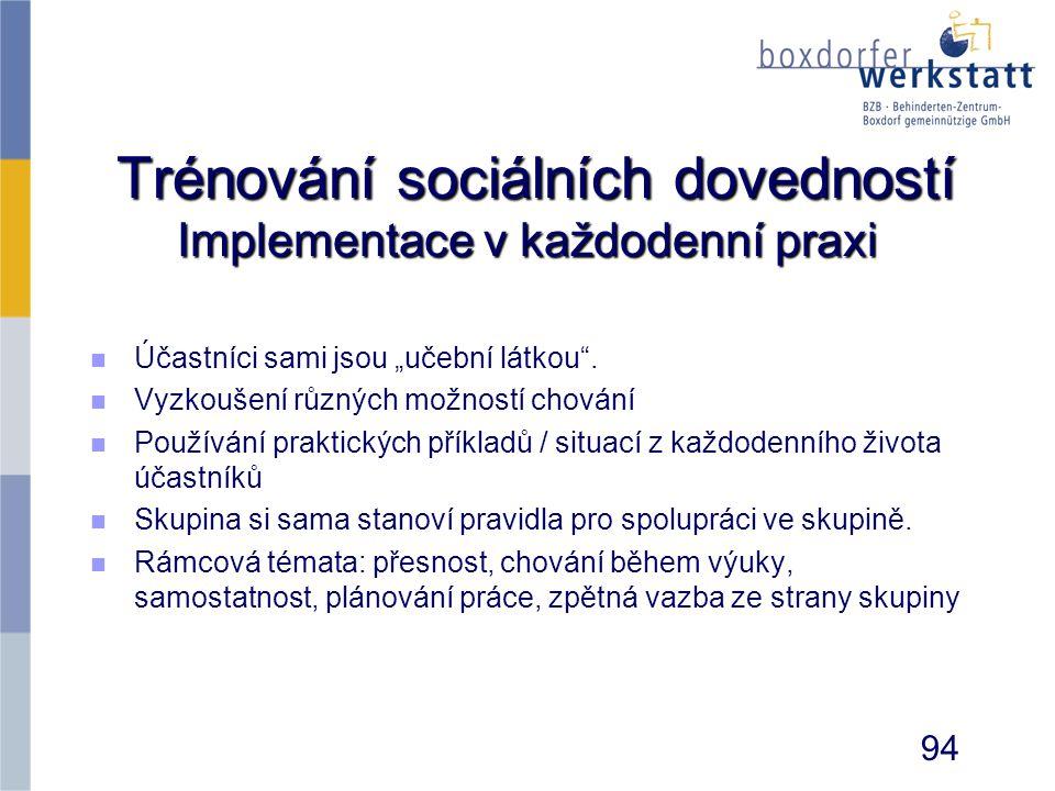 Trénování sociálních dovedností Implementace v každodenní praxi